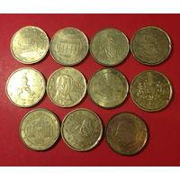 Евроценты, 11шт по 20ц, все разные