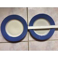 Тарелка с голубой каемкой СССР для второго блюда без клейма 1 шт цена 2,5 руб, 2 шт цена 4 руб