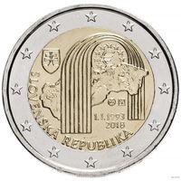 2 евро 2018 Словакия  25 лет Республике UNC из ролла