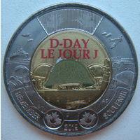 Канада 2 доллара 2019 г. 75 лет высадке союзников в Нормандии (цветная)