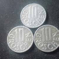 10 грошей, Австрия 1987, 1988, 1993 г.