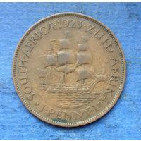 Южная Африка Британский доминион 1 пенни 1923 Георг V тираж 91000