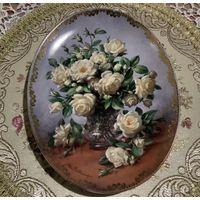 Тарелка коллекционная Розы Овальная как картина! Англия винтаж