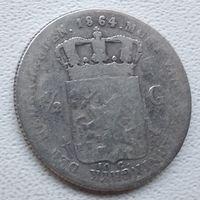 Нидерланды 1/2 гульдена, 1864 6-5-12