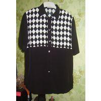Блузка чёрная с ромбами Seidensticker, р.48-50