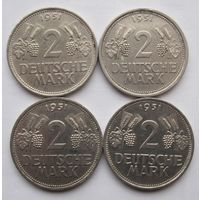 Германия, комплект 4 х 2 марки 1951