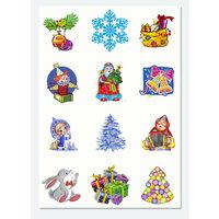 Новогодние наклейки 6 см, лист А4, дед мороз, снегурка, снеговик, снежинка