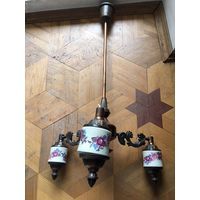 Люстра СССР на запчасти с фарфоровыми вставками декор цвет меди металл под кальян и творчество