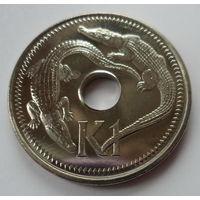 """Папуа-Новая Гвинея 1 кина 2004 """"Гребнистые крокодилы"""""""