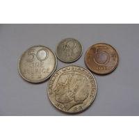 Швеция. набор 4 монеты 5, 10, 50 эре - 1 крона 1965 - 1982 год