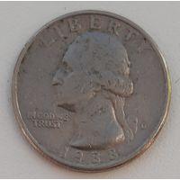 США - 25 центов 1988 D_km#A164a – РАСПРОДАЖА: - ОТЛИЧНОЕ СОСТОЯНИЕ!