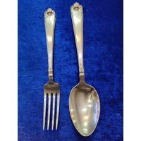 Серебряные ложка и вилка. Серебро 925 проба. Стерлинг.