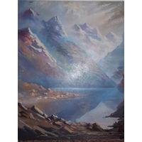 Картина красивые горы, картина маслом.