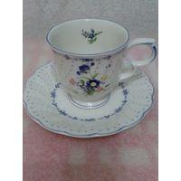 """Старая чайная пара """"Голубые пионы"""", японский фарфор  Nikko. См. описание."""