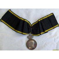 """Большая, шейная, серебрянная (38гр.) медаль Швеция. 1937г  """"За добросовестность и усердие"""""""