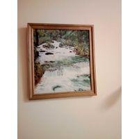 Картина пейзаж Лесной ручеей, водопад, подпись