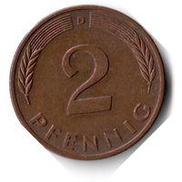 Германия. 2 пфеннига. 1977 D