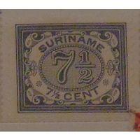 Номинал в поперечном овале на цветном фоне. Суринам. Дата выпуска: 1908