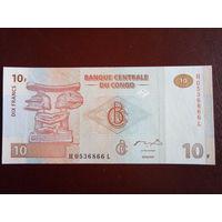 Конго 10 франков 2003г.