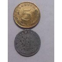 Германия 1 пфенниг 1942+5 пфеннигов 1938