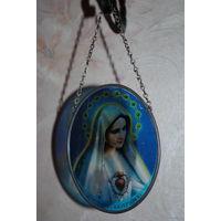 Католический образ/привеска св.Марии, - (б.у.) - рисунок на стекле имеет потёртости - см.фото-!