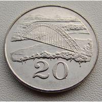 Зимбабве. 20 центов 2001 год  КМ#4а