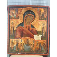 Икона Божией Матери Боголюбская житийными клеймами по серебру