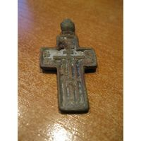 Крест нательный большой.  Медный сплав, литье, XVIII век.