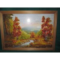 Картина-репродукция украшенная кусочками янтаря.Размер 32х23 см.