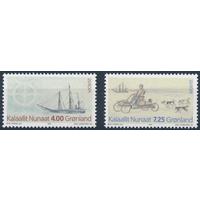 Гренландия, 1994, #247-8, Корабли, Собаки, Европа СЕПТ, MNH \\АР