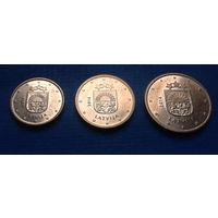 Латвия 1, 2, 5 евроцентов 2014