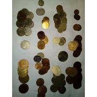 Общий лот монет СССР (90шт) и России (55шт)