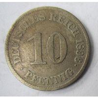 Германия. 10 пфеннигов 1896 E.  2-106