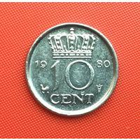 Нидерланды, 10 центов 1980 г. Распродажа!