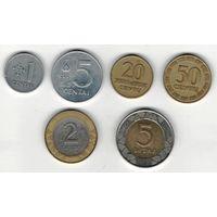 W: Литва набор 1 цент 1991, 5 центов 1991,20 центов 1998, 50 центов 1998, 2 лита 2008, 5 лит 2009 (433)