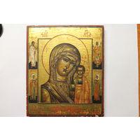 Икона Казанская Божья Матерь. 19 век. По золоту.