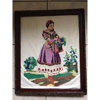 Картина вышивка в старинной раме СССР 51см х 62 см размер по наружному краю рамы