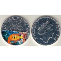 Фиджи 1 доллар 2009 КМ#149 Surgem fish Рыба Корабль цветная
