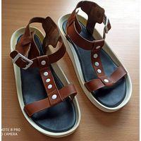 Босоножки-сандалии кожаные, рыжие, р.38-39