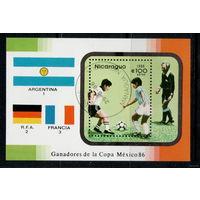 Никарагуа /1986/ Спорт / Чемпионат мира по футболу 1986 / Мексика / Блок.