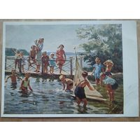Гапоненко Э. Дети на реке. 1956 г. Чистая.
