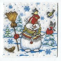Салфетка для декупажа. Новогодняя, снеговик. 25 х 25 см
