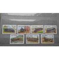 Поезда, паровозы, транспорт, техника, железная дорога, марки, Вьетнам, 1983