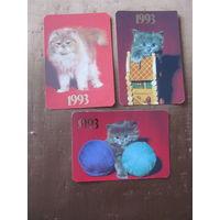 Календари. 1993.Котята. 3 шт.