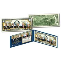 """2 доллара цветные """"Ныне живущие президенты США"""" ,UNC"""