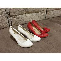 Туфли на коблуке Белые и Красные