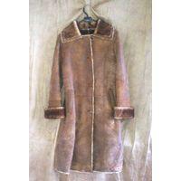 Дублёнка женская длинная с натуральным мехом Bulli Leather. Р-р 42-44 (S). С пристёгивающимся капюшоном. Светло-коричневая.