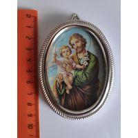 Святой Иосиф с младенцем Иисусом. (Католическая современная икона )