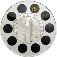 "Палау 5 долларов 2014г. ""Даниэль Габриэль Фаренгейт: Термометр."" Монета в капсуле; деревянном подарочном футляре; сертификат; коробка. СЕРЕБРО 31,135гр."