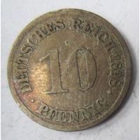 Германия. 10 пфеннигов 1898 D.  2-109